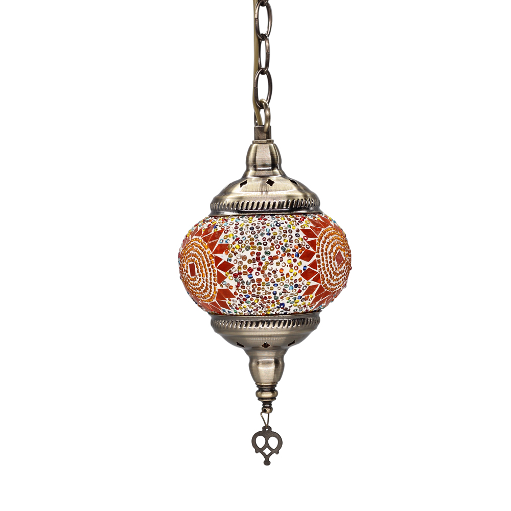 Asie du sud est bohême mosaïque turque suspension lampe E27 ampoule à la main en verre applique maroc café Restaurant pendentif lumineux LED|Lampes à suspension| |  -