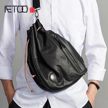 AETOO Trendy leather men's chest bag, fashion head leather one-shoulder bag, men's stiletto bag aetoo leather men s chest bag head leather fashion casual shoulder bag trendmen s stiletto bag