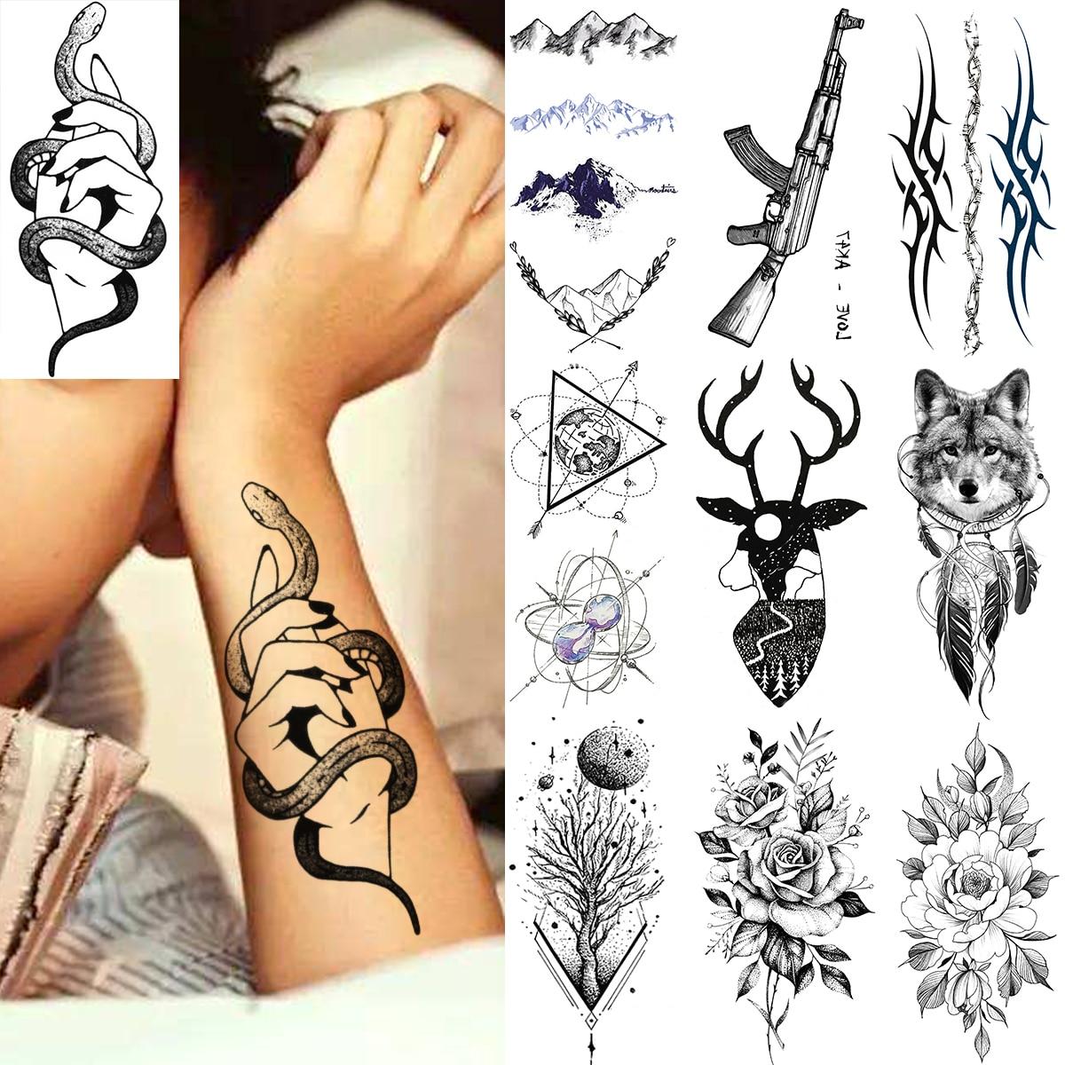 Sexy Hand Snake Adults Temporary Tattoos For Men Women Gun Thorns