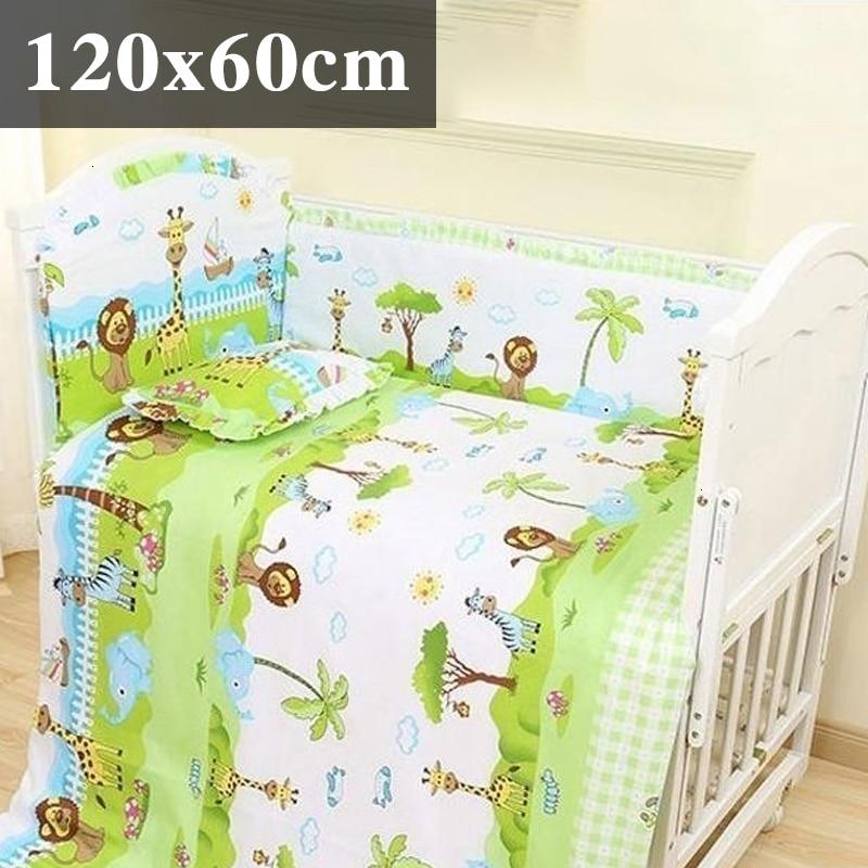 5 шт. натуральный хлопок детское постельное белье Комплект для бампера мягкий съемным моющимся коляска для новорожденных Детское постельное белье детская кроватка бампер детская комната с декором на утолщенной - Цвет: island 120x60cm