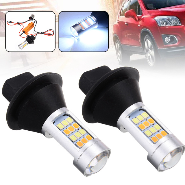 Pour éclairage de voiture 2 pièces 1156 haute puissance double couleur Switchback LED ampoule P21W S25 BA15S 2835 42LED lampe de clignotant diurne 1