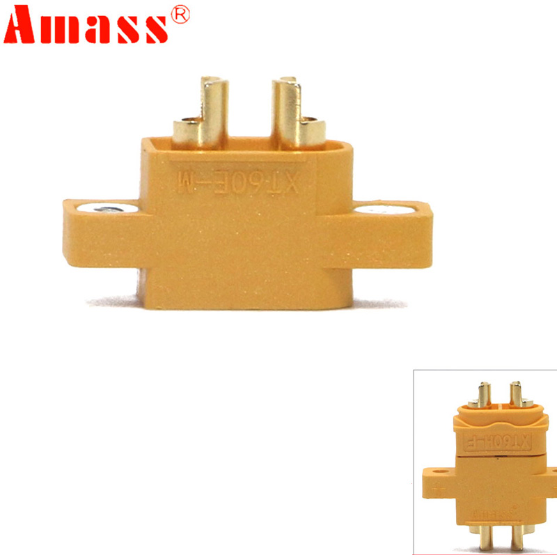 AMASS XT60E-M Mountable XT60 Male Plug Connector 4.23g For Racing Models Multicopter Fixed Board DIY Spare Part