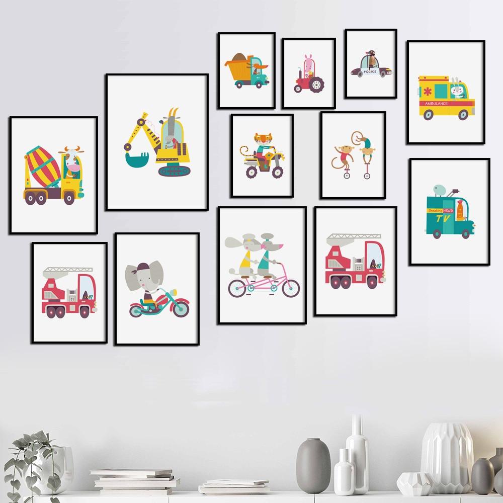 Для малышей и детей постарше номер Декор плакат с изображением машинок и автобусов, Модульная картина с изображением автобуса с Животные ез...