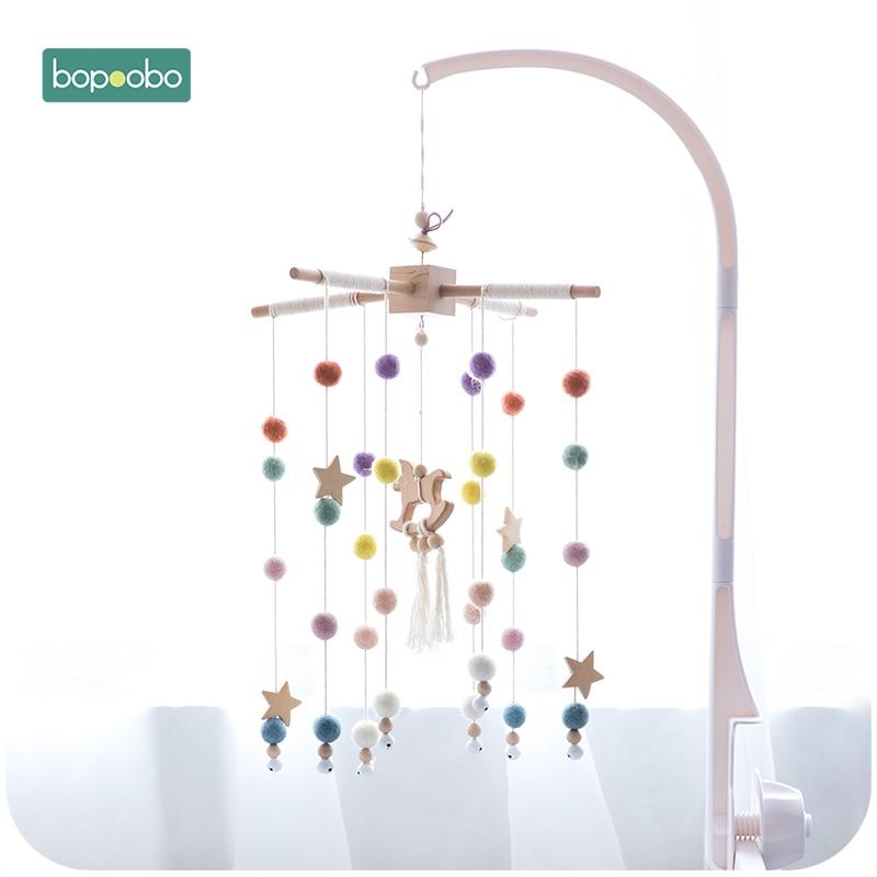 Bopoobo Baby Mobile Hanging Rattles Toys Wind-up Music Box Hanger DIY Hanging Baby Crib Mobile Bed Bell Toy Holder Arm Bracket