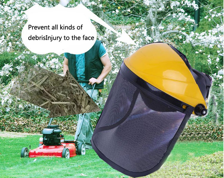 Safety Helmet Mask Cut Grass Protective Screen Black Wire Mesh Chainsaw Brush Cutter Forestry Mower Face Protective Mask