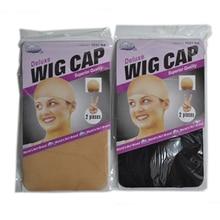 2 pçs meia peruca boné moda stretchable malha peruca tampão malha tecelagem preto marrom bege peruca de cabelo rede que faz tampas hairnets