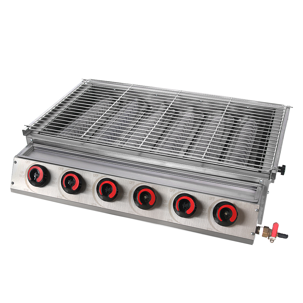 ITOP Full Stainless Steel 6 Burners Gas BBQ Grills Barbecue Grills Tools For Outdoor LPG Grills Stove Machine