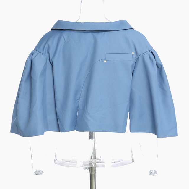 [EAM] Loose Fit Pattern Printed Irregular Short Jacket New V-collar Short Sleeve Women Coat Fashion Spring Autumn 2021 1Y7180 3