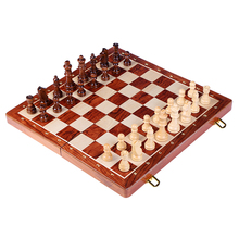 лучшая цена High Quality Wooden Folding Large Chess Set King High 78MM Handwork Solid Wood Pieces Walnut Chessboard Children Gift Board Game
