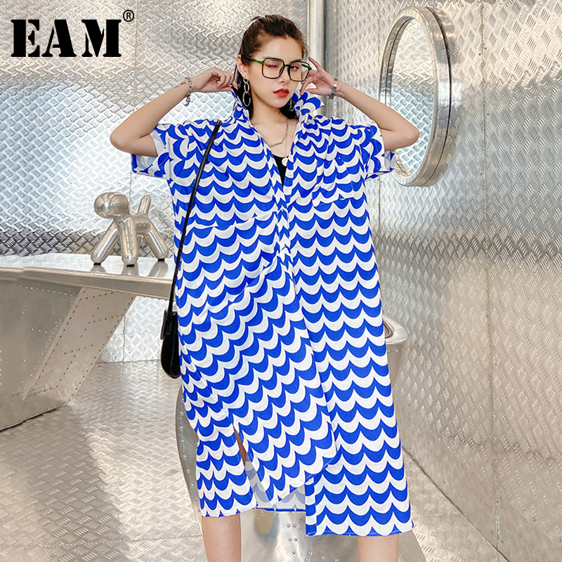 [EAM] Women Blue Striped Split Joint Big Size Shirt Dress New Lapel Half Sleeve Loose Fit Fashion Tide Spring Summer 2020 1X700