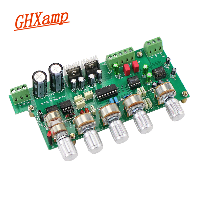GHXAMP 2.1 Subwoofer Preamplifier NE5532 Preamp Tone Control Board 3 Channel TL072 Treble Bass Adjustment