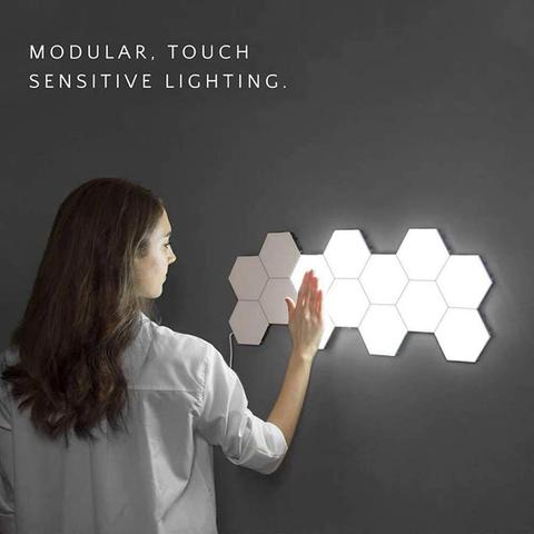 quantum diy luz led sensivel ao toque lampada de sensor noite lampadas de parede montagem