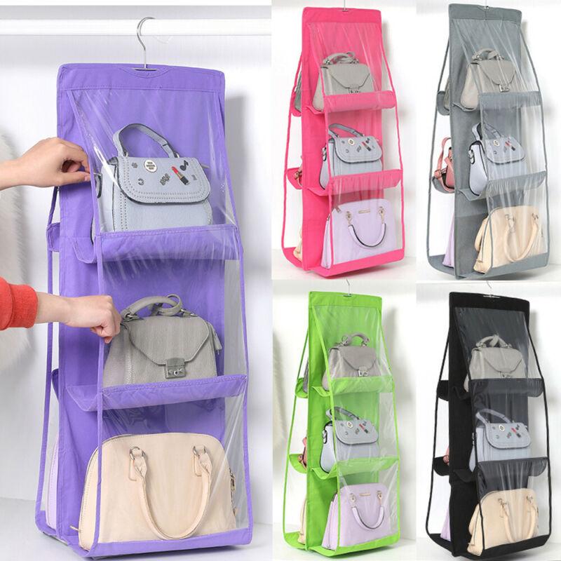 6 Pockets Folding Hanging Handbag Purse Storage Large Clear Holder Anti-dust Organizer Rack Hook Hanger Bag