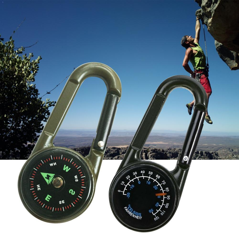 High Quality Multifunctional Mini 3in1 Carabiner Compass Outdoor Key Chain Hiking Tool Thermometer Ring Survival Camping Ke U6T4
