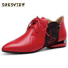 SGESVIER 2020 Spring Elegant Pointed Toe High Heels Microfiber Leather Lace Up Shallow Women Pumps Party Prom Office Shoes Woman