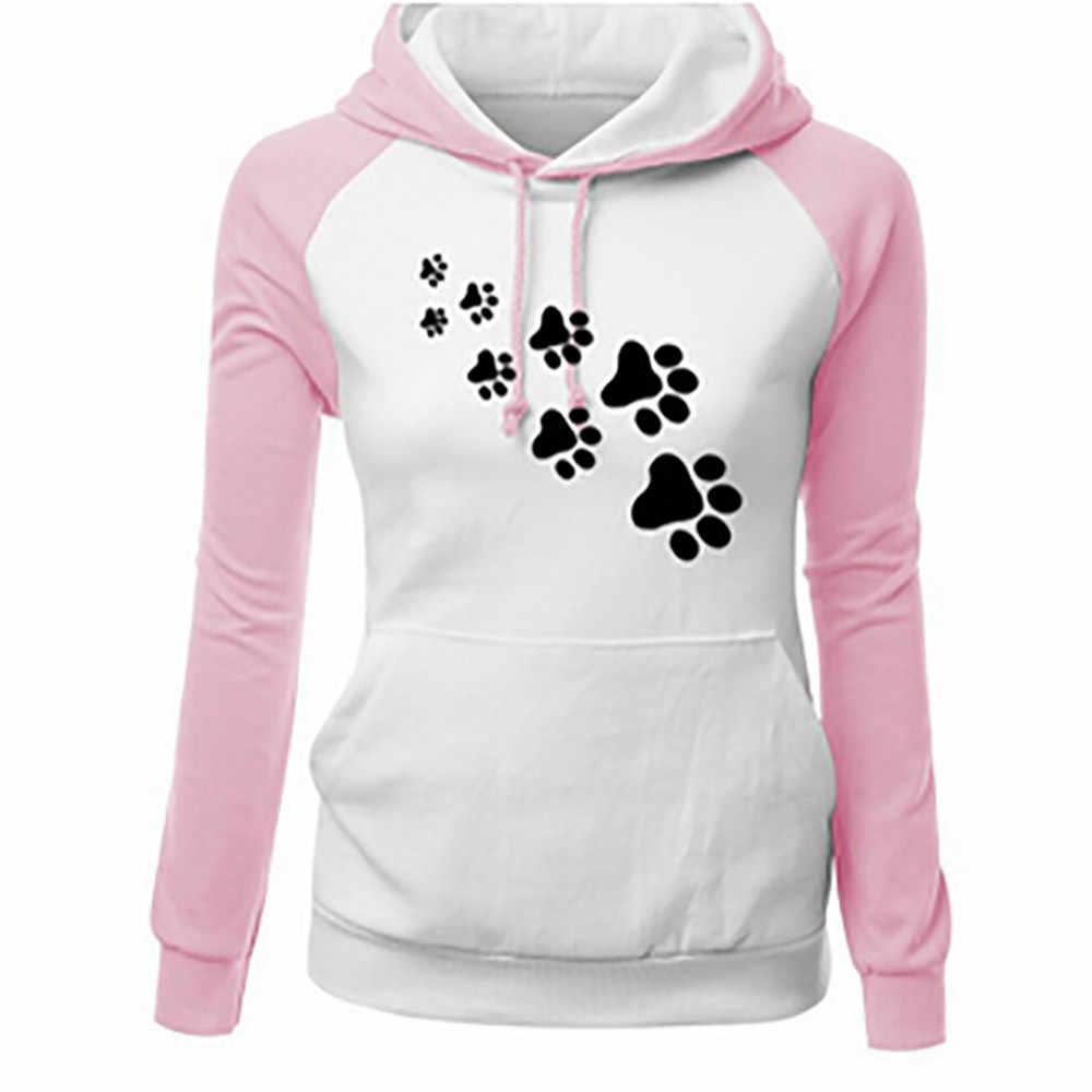 כלב מודפס חולצות הסווטשרט ארוך שרוולים כיס מזדמן סוודרי גרפי חולצות נים נשים אופנה בתוספת גודל Dropship 0807