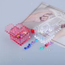 Коробка в форме сердца форма из смолы Пиксельная коробка для
