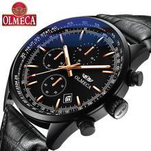 OLMECA  Men Watch Top Brand Luxury Quartz Watches Military Male Wristwatches Sport Men's Watches Genuine Leather Fashion Clock все цены