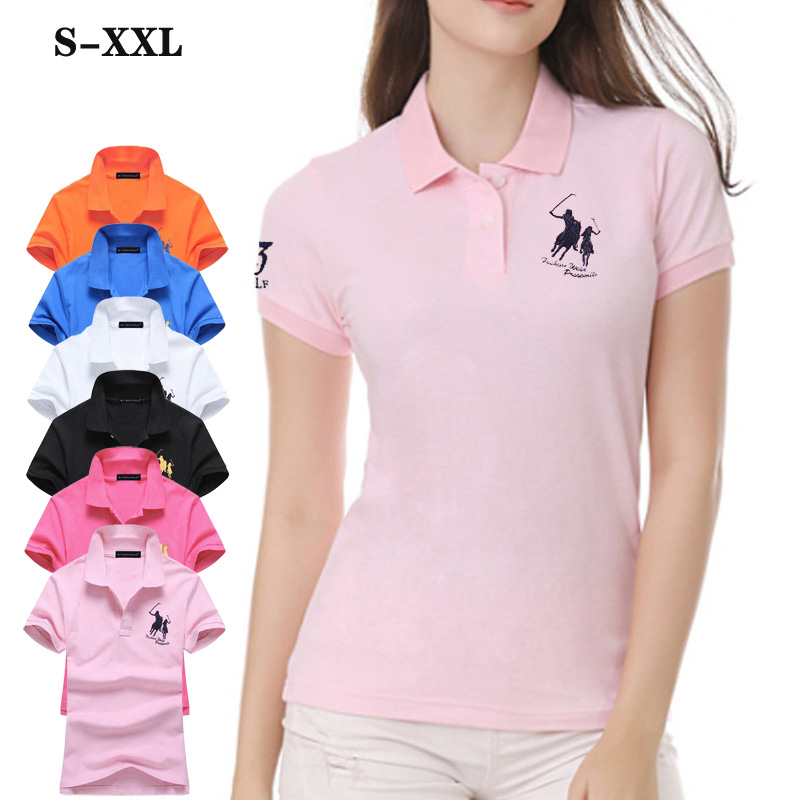 Top quality Summer New Womens short sleeve polos shirts Casual Cotton Brand lapel women's polos shirts Fashion slim Ladies tops