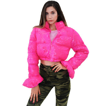 Cropped  Puffer Jacket  Pink Sequin Bell Sleeve Parka Bubble Coat Winter 2020 Fall Women  XL XXL 1