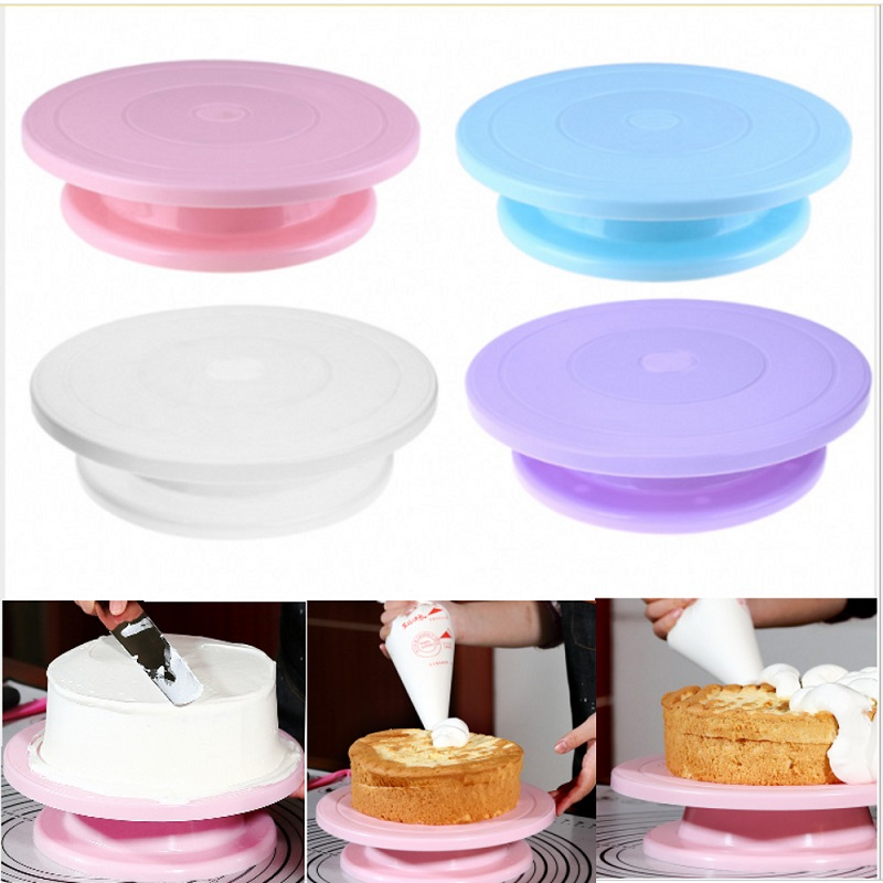 Plastic Cake Turntable Rotating Anti-skid Cake Stand Decorating Tools Cake Rotary Table Kitchen DIY Pan Baking Tools Utensil