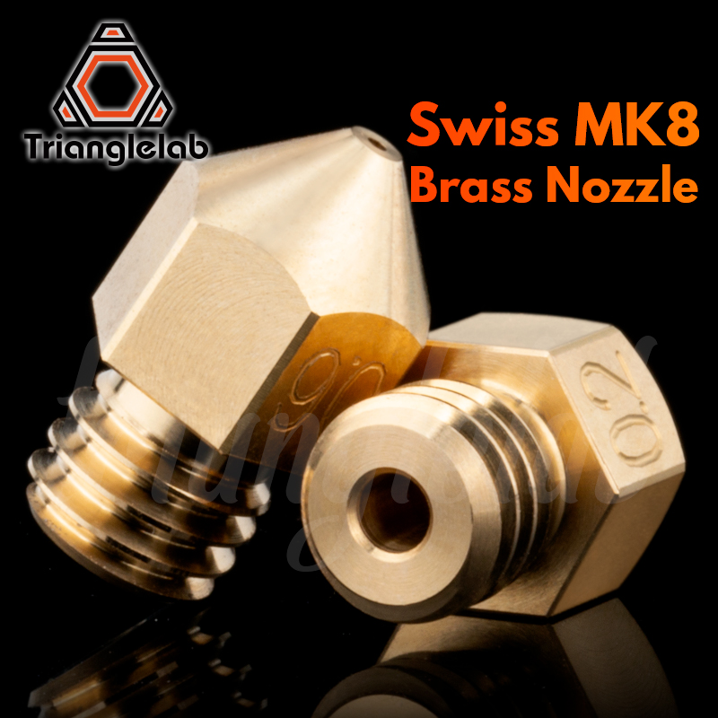 Trianglelab Swiss MK8 Brass Nozzle M6 Thread 1.75MM Filament  For 3D Printers Hotend   J-head Cr10 Heat Block Ender3 Hotend