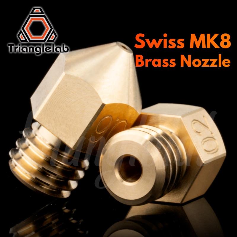 Trianglelab Swiss MK8 Brass Nozzle M6 Thread 1.75MM Filament  For 3D Printers Hotend   J-head Cr10 Heat Block Ender3 Hotend