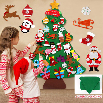 DIY Felt Christmas Tree Decoration Santa Claus Kids Toys Christmas Decor for Home 2020 Xmas Hanging Ornaments New Year 2021 Gift недорого