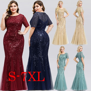 Image 3 - Arabic Little Mermaid Evening Dresses Long Ever Pretty Elegant O Neck Short Sleeve Sequined Gold Formal Party Gown Robe Longue