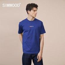 Simwood 2021 verão novo logotipo impressão camiseta masculina moda 100% algodão 250g grosso tecido confortável topos plus size roupas de marca
