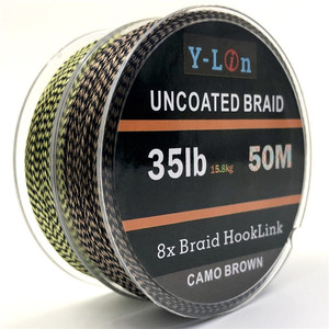 50m 8 stand Camouflage Carp Fishing Line Soft Hook Link Carp Hooklink Uncoated Braid Line for Hair Rig 25 35LB Rigging Line