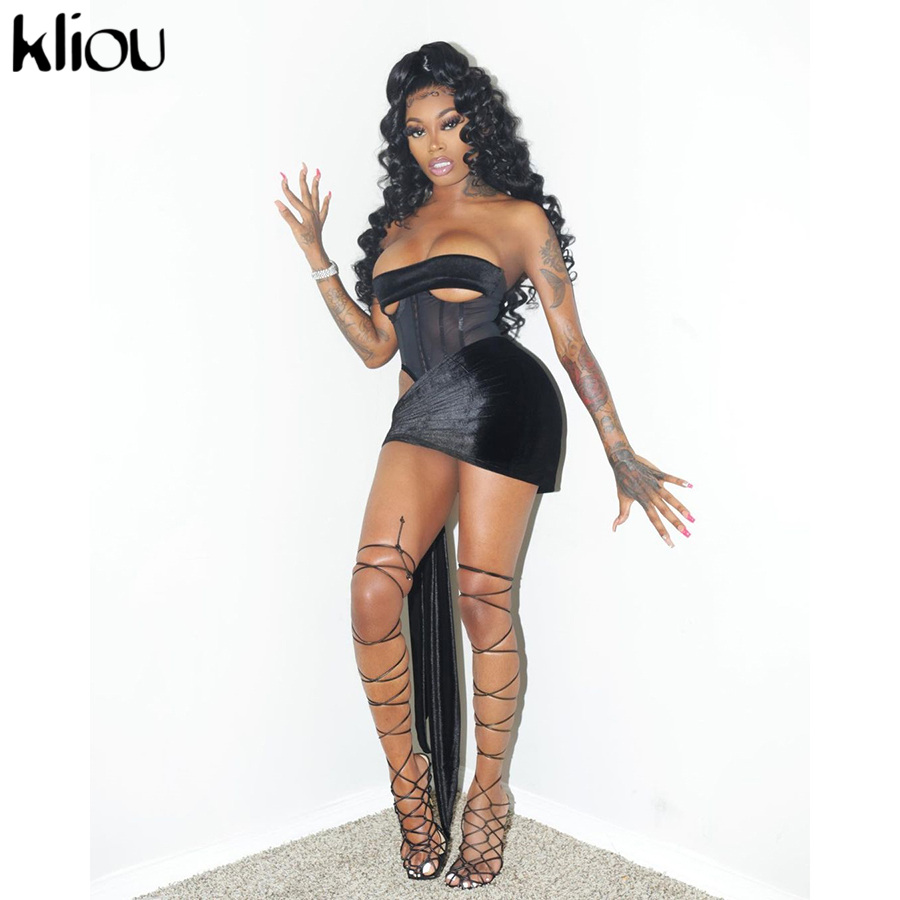 Kliou Velvet Sexy Two Piece Set Women 2021 Spring Zipper Tank Top+Bandage Skinny Skirts Solid Slim Clubwear Matching Sets Hot