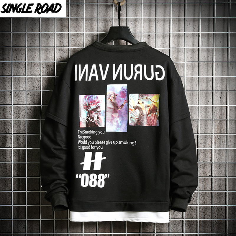 SingleRoad Crewneck Sweatshirt Men 2019 Oversized Harajuku Japanese Streetwear Hip Hop Black Hoodie Men Hoodies Sweatshirts Male