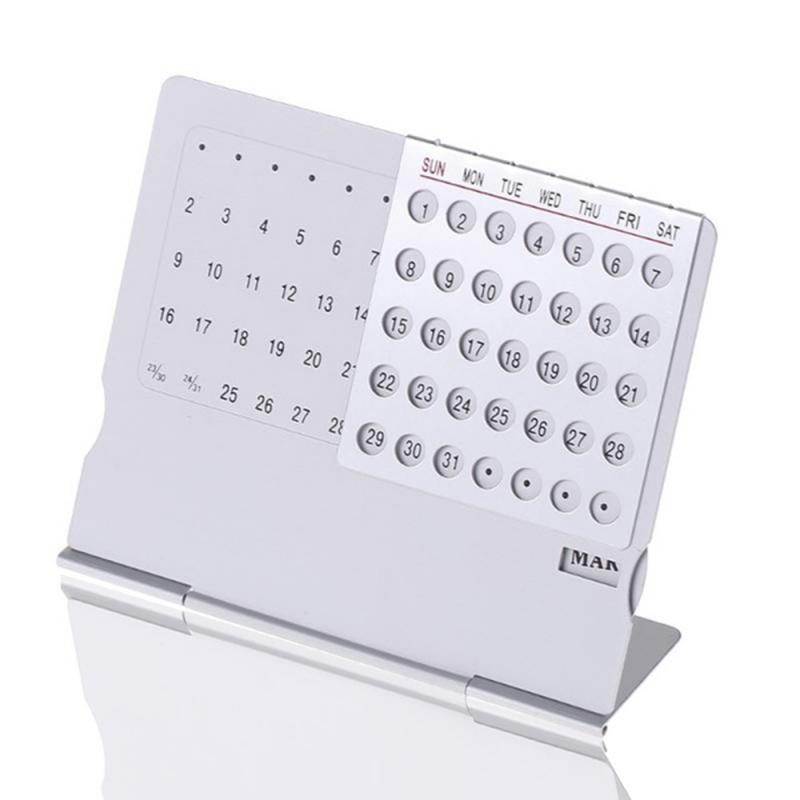 Super Perpetual Unique 100 Years Calendar Aluminum Alloy Metal Table English Calendars Office Desk Decor Gift