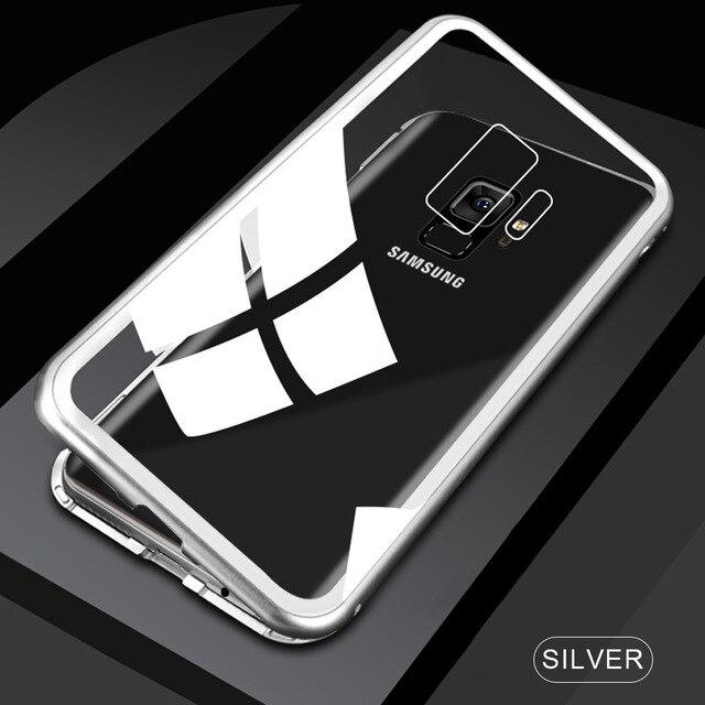 Металлический магнитный адсорбционный чехол для samsung Galaxy Note 10, S8, S9, S10 Plus, S10e, S7 Edge, Note 8, 9, 10+ закаленное стекло, Магнитная крышка - Цвет: Transparent Silver
