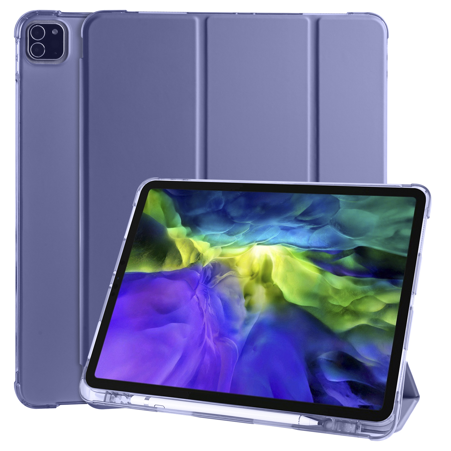 Purple Champagne Smart Soft Shockproof Case for iPad Pro 12 9 2020 2018 3rd 4th Generation with Pen