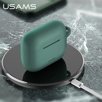 USAMS Earphone Case for Airpods 3 2 1 Pro Earphone Cover High Quality Soft Silicone Plain Protect Anti-fall Cases With Hook