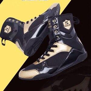 Zapatillas deportivas de lucha para hombre, calzado de boxeo de lujo, color negro y dorado, 39-46 talla grande, ropa transpirable de boxeo