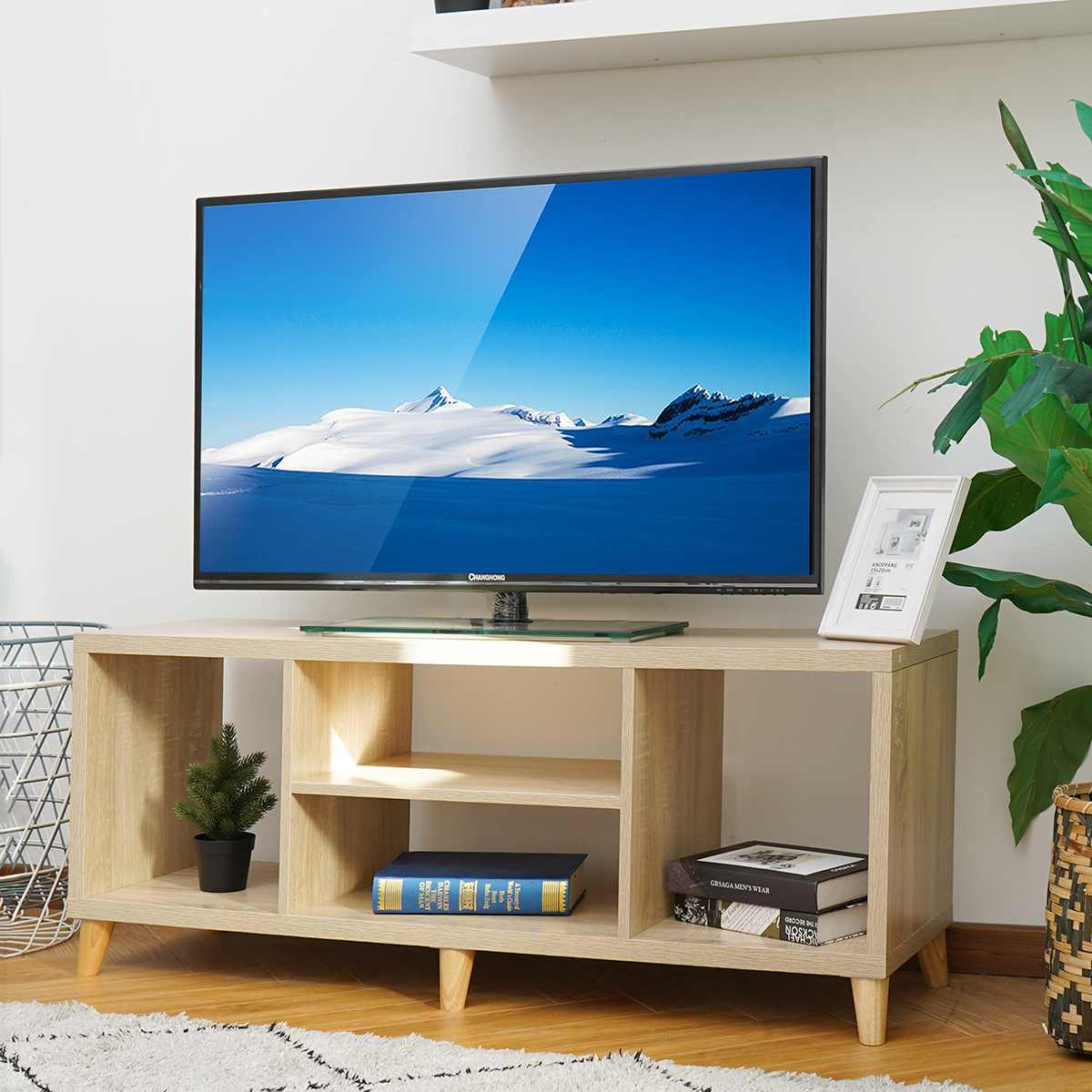 57'' Portable Detachable TV Stand Cabinet Console with 4 Open Layers for Living Room White Wood Black Table US Shipping