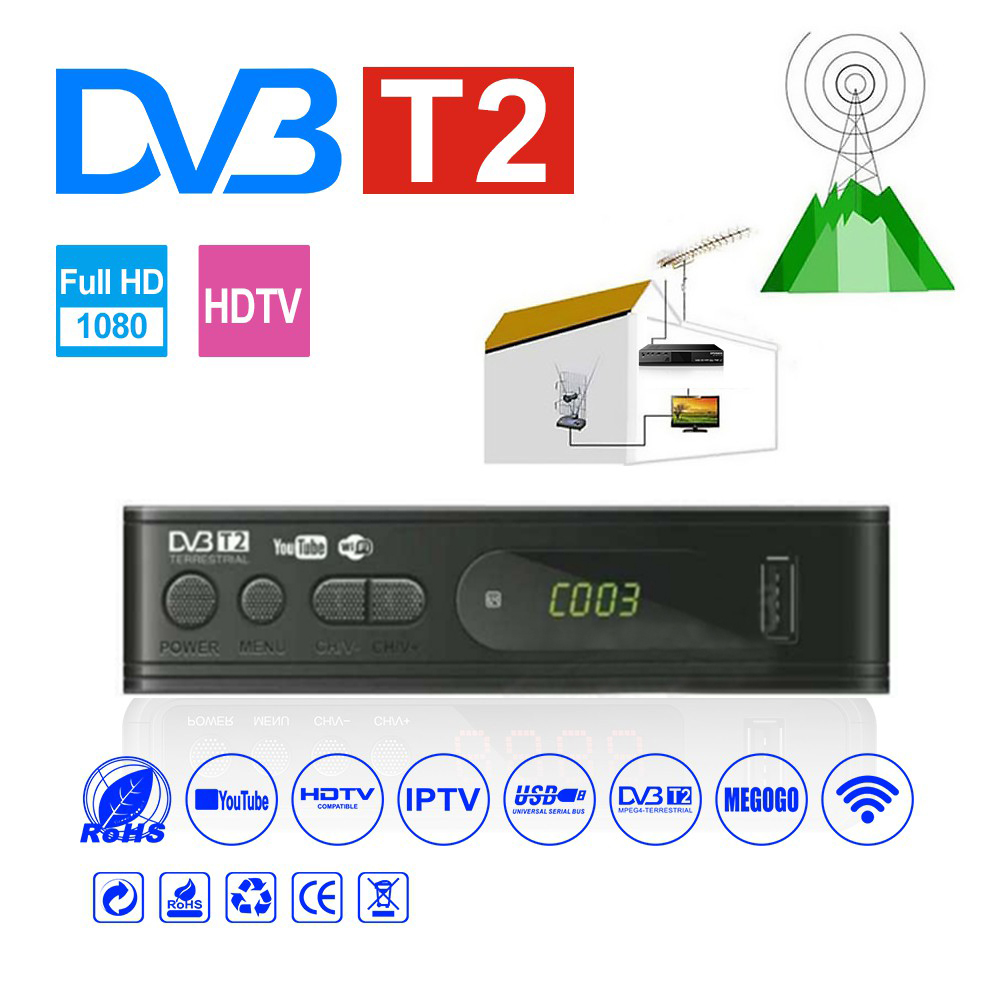 Receptor de tv por satélite hdmi sintonizador dvb t2 wifi usb2.0 completo-hd 1080 p Dvb-t2 caixa de tv sintonizador dvbt2 embutido manual russo com antena