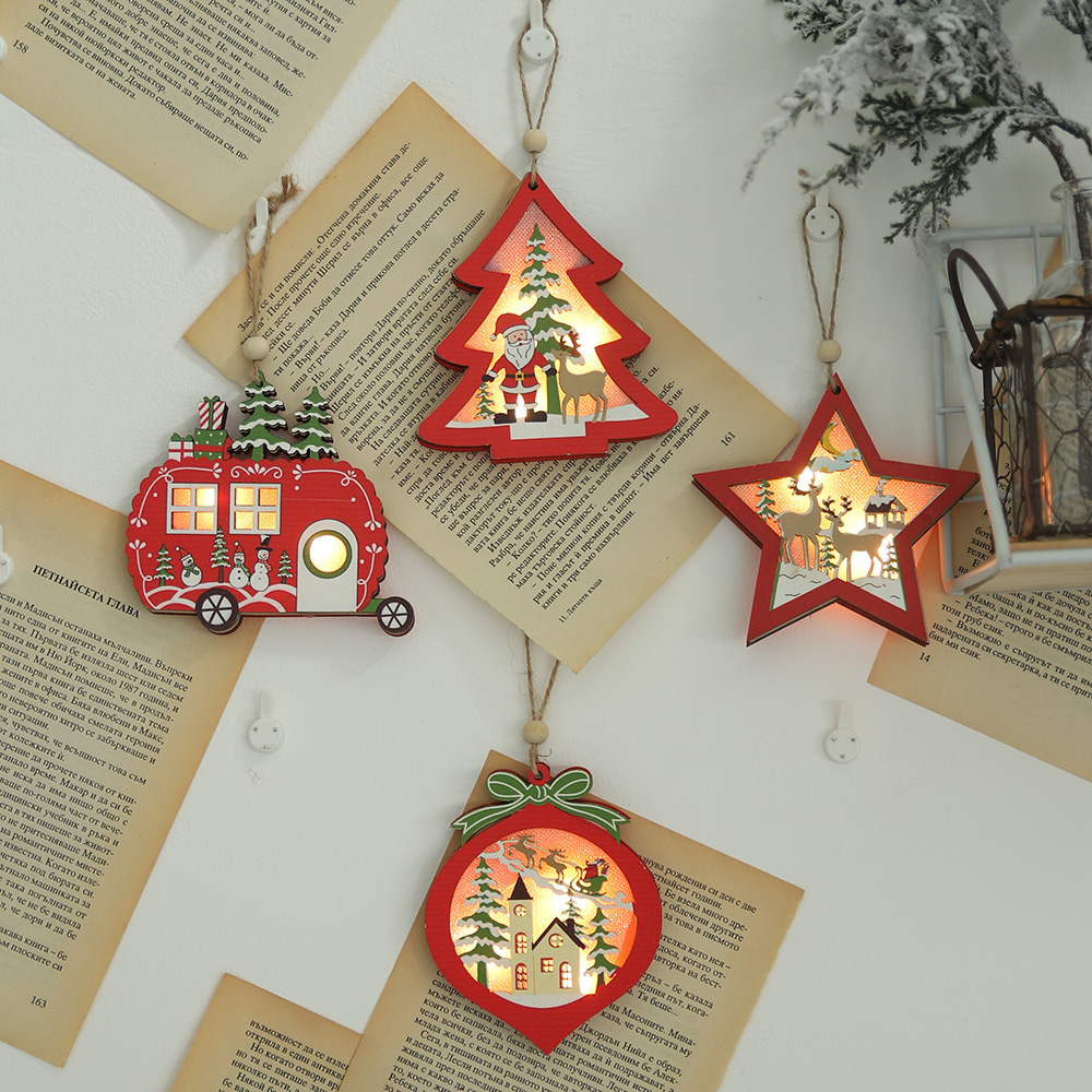 2020 New Year Christmas Decoration Creative Led Light Christmas Tree Hanging Pendant Star Car Heart Wooden Ornament Xmas Party|Pendant & Drop Ornaments| - AliExpress