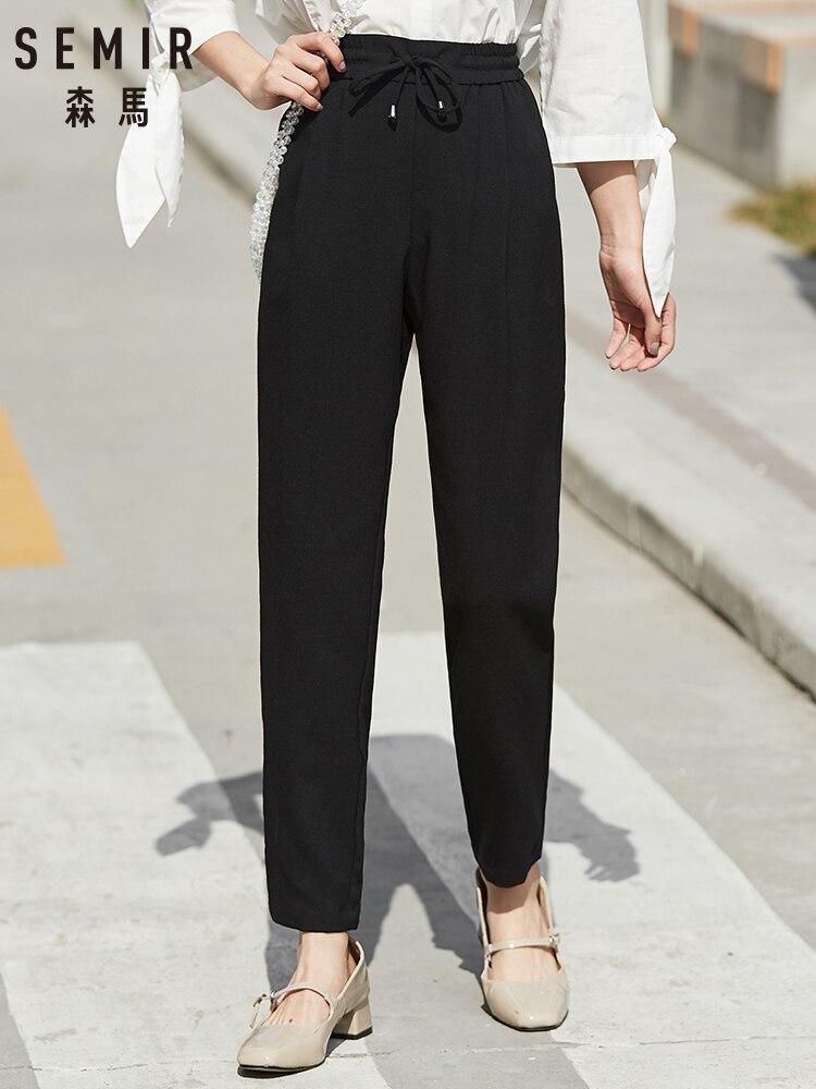 SEMIR Casual Trousers Women 2020 Spring New Elastic Waist Design Sense Jogging Pants Modern Design Sense Trend