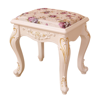 European style dressing stool simple cloth solid wood dressing table chair manicure stool garden bedroom shoe stool