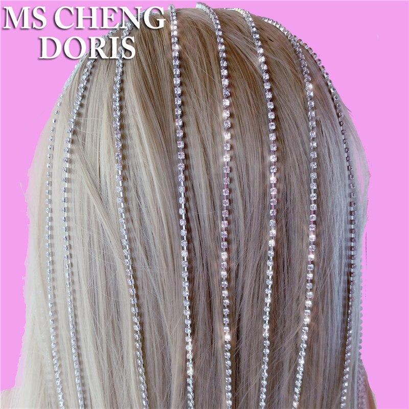 Женская цепочка для волос, обруч для волос с кристаллами, украшение на голову, Длинная кисточка, стразы, роскошные тиары