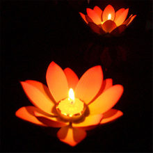 1pcs Color Random Outdoor Floating Lotus Candle Holder Light Pool Pond Garden Water Flower Candlestick Wishing Lotus Lights(China)