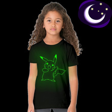 New Childrens Short Sleeve glow T-shirts Girls Cartoon Black T-shirt Little Clothing Baby Boy Clothes Kids Costume Unisex