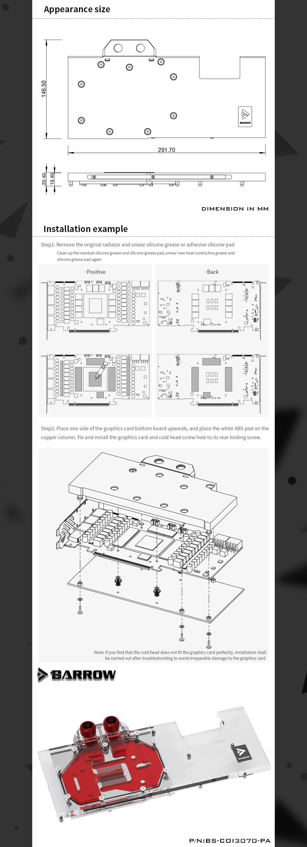 Barrow 3070 3060Ti GPU Water Block for Colorful RTX 3070 3060ti Vulcan, Full Cover 5v ARGB GPU Cooler, BS-COI3070-PA