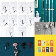 10 pçs gancho de porta ganchos de parede adesivo transparente anti-skid traceless resistente vara no gancho banheiro cozinha adesivos de parede