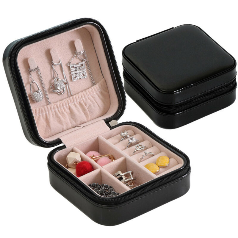 Jewelry Organizer Display Travel Jewelry Case Boxes Portable Jewelry Box Zipper Leather Storage Joyeros Organizador De Joyas