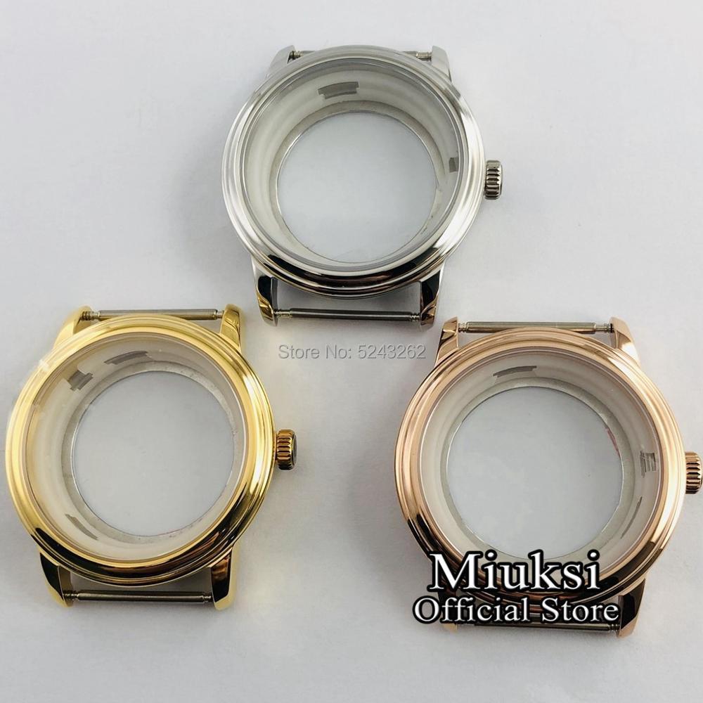 Miuksi 40mm silver/gold/rose gold/ sapphire glass watch case fit ETA 2836,Miyota 8205/8215/821A/82series movement